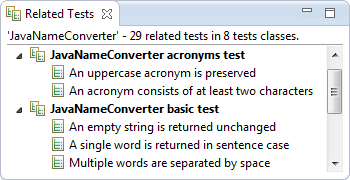 The Related Tests view that StoryTeller provides.